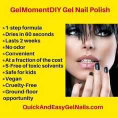 GelMoment, the 1-step, DIY gel nail polish. Saves money, convenient, no fumes, lasts 2 weeks, dries in 60 seconds, Ground-floor business opportunity-10% OFF YOUR ORDER IF YOU PLACE IT DIRECTLY FROM ME. YOU CAN CONTACT ME AT  https://www.facebook.com/QuickAndEasyGelNails OR PLACE YOUR ORDER ON MY WEBSITE AND I WILL SEND YOU 30 REMOVERS AND 10 CLEANERS AS A THANK YOU. https://anitam.gelmoment.com/  #GelNails #GelMoment #nailpolish #gelpolish #WAHM  #businessopportunity