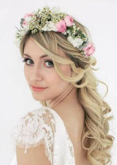 Crowns with baby's breathe and blush pink flowers