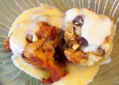 Custard poured over bread pudding