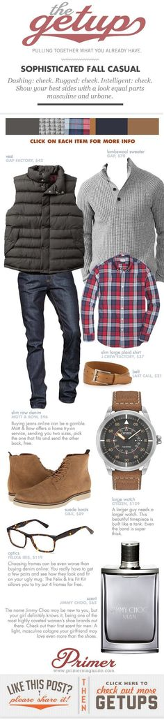 Dashing: check. Rugged: check. Intelligent: check. Show your best sides with a look equal parts masculine and urbane..