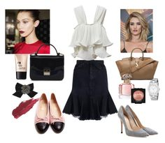 """""""How to wear: Denim Skirt"""" by tata-kazarian on Polyvore featuring Zimmermann, Chanel, Marc by Marc Jacobs, Kate Spade, Whiteley, Furla, Charlotte Russe, Yves Saint Laurent, Guerlain and Lily Lolo"""