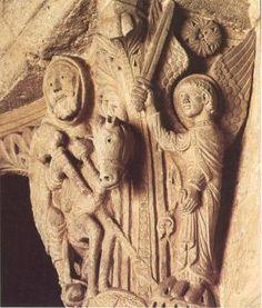 Nave capital c. 1150 Stone Church of Saint-Andoche, Saulieu Romanesque Sculpture, Free Standing Sculpture, Medieval, Sculptures, Lion Sculpture, Green Man, Madonna, Statue, Middle Ages