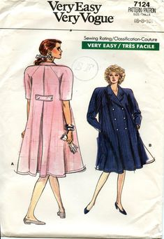 Burda Sewing Patterns, Vogue Patterns, Embroidery On Clothes, Size 14 Dresses, Maternity Dresses, Vintage Patterns, Double Breasted, Shirt Dress, Couture