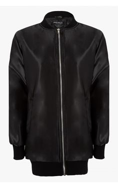 Longline Satin Bomber | Select Fashion