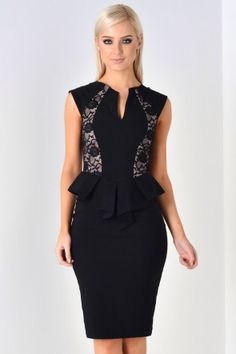 Nadia Peplum Midi Dress in Black