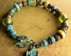 Bohemian Beaded Bracelet Multi-Strand Statement door ChrysalisToo