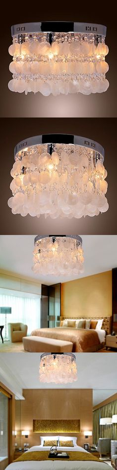 Chandeliers and Ceiling Fixtures 117503: Modern Chrome White Shell Ceiling Lighting Chandelier Light Lamp Pendant Fixture -> BUY IT NOW ONLY: $54.5 on eBay!
