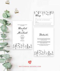 220 best wedding invitation templates free to print images on wildflower wedding invitation template suite printable wedding invites set modern wedding invite template stopboris Image collections