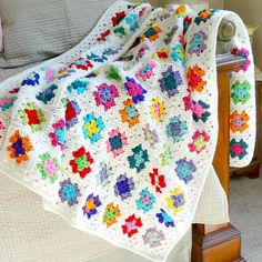 Granny Square Afghan Crochet Multi Color Blanket White Trim Throw Bedding