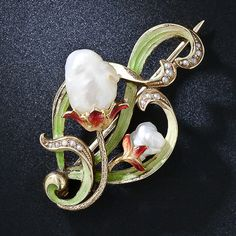 Art Nouveau Natural Pearl and Enamel pin