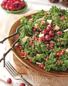 Add this tasty side to your Christmas brunch: Festive Kale Salad with Sweet Apple Cinnamon Vinaigrette, Oh She Glows: Vegan REcipes to Glow from the Inside Out, by Angela Liddon.