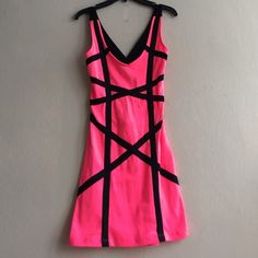 Hot Pink and Black Party Dress. Fun and Sexy Party Dress. Hot Pink with Black. South Beach style. Cotton material, size small/ medium Body Central Dresses Mini