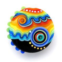 Handmade lampworked bead lentil focal1FREE WORLDWIDE by michals, $42.00
