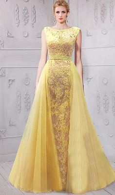 Stunning Bateau Neckline Low V Back Yellow Lace Evening Prom Dress Mesh Overlay Skirt Winter Evening Dresses, Evening Dresses Online, Grad Dresses Short, Homecoming Dresses, Formal Dresses, Petite Bridesmaids Dresses, Salsa, Yellow Lace, Ball Gowns