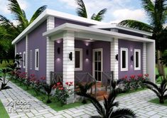 Finished with purple color scheme, small home plan consists of 3 bedrooms, 3 toilet and bath living room and a small porch. This plan can be built in a lot with at least 150 square [. My House Plans, Bungalow House Plans, Bungalow House Design, Small House Plans, House Floor Plans, Rest House, Tiny House, Small Houses, Double Storey House