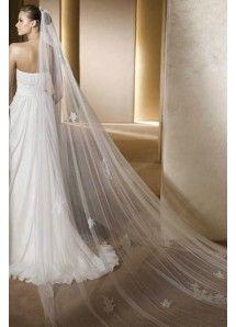 Classic Chiffon Sheath/Column Sweep/Brush Train Empire Waist Strapless Wedding Dresses