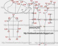 DRESS BASIC GRADING - Molds for Measure Fashion http://moldesdicasmoda.com/gradacao-de-base-vestido/