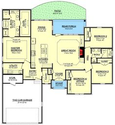 Trendy home architecture design floor plans bedrooms ideas House Plans One Story, One Story Homes, Best House Plans, Story House, House Floor Plans, 4 Bedroom House Plans, Ranch House Plans, Southern House Plans, Southern Homes
