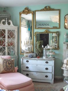 Mirror collage -- Frenchy & Bright Living Room eclectic living room
