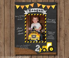 Birthday Signature Mat - Wishes - Guest Book - #Construction Chalkboard - PRINTABLE - Digital - First Birthday by InvitationCeleb on Etsy
