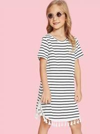 To find out about the Girls Tassel Hem Striped Tee Dress at SHEIN, part of our latest Girls Dresses ready to shop online today! Sweatshirt Dress, Tee Dress, Dress Girl, Baby Dress, Colorblock Dress, Belted Dress, Striped Tee, Striped Dress, Natural Clothing