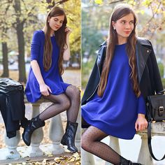 Blue Loose Dress, Black Elegant Coat, Black Leather Boots, Black Postman Bag, Silver Ring