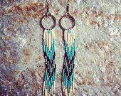 Native American Inspired Earrings, Long Fringe Earrings, Long Seed Bead Earrings, Shoulder Dusters, Hand Beaded Earrings, Chevron Earrings