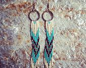 Native American Inspired Earrings, Long Fringe Earrings, Long Seed Bead Earrings, Shoulder Dusters, Hand Beaded Earrings, Chevron Earrings