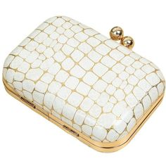 Bling Bling Stone Pattern PU Leather Kiss Clasp Evening Clutch Bag for... ❤ liked on Polyvore featuring bags, handbags, clutches, white handbags, kisslock purse, pu leather handbag, holiday purses and special occasion handbags