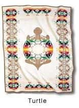 Our TURTLE blanket was made in recognition of the Iroquois Confederacy. Inspired by the Oneida, Seneca, Mohawk, Cayuga, Onondaga and Tuscarora Nations, the Turtle design represents the Iroquois legend that the world was created on the shell of the Great Turtle. The Turtle was the only one with enough strength who could support the earth on its back, says the legend. And the earth grew larger until it became the whole world.
