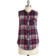 Mid-length Sleeveless Camp It Up Top ($30) ❤ liked on Polyvore featuring tops, shirts, plaid, apparel, multi, sleeveless woven, woven top, sleeveless button down shirt, striped shirt and striped button up shirt