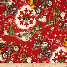 Christmas Time RPM Santa Dark Red from @fabricdotcom  Designed by DeLeon Design Group for Alexander Henry, this cotton print is perfect for quilting, apparel and home decor accents. Colors include red, white, brown, gold and green.