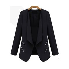 Romwe Zipper Fitted Black Blazer (22 CAD) ❤ liked on Polyvore featuring outerwear, jackets, blazers, sheinside, tops, black, fitted jacket, black zipper jacket, black blazer and draped jacket