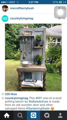 Altered Olives, a British Columbia-based company that creates custom recycled furniture, crafted this one-of-a-kind potting bench from an old wooden door and other salvaged items. # Gardening bench 14 Ways to Perk Up Your Garden Shed Potting Tables, Rustic Potting Benches, Outdoor Potting Bench, Old Wooden Doors, Salvaged Doors, Repurposed Doors, Rustic Doors, Woodworking Projects Diy, Woodworking Plans