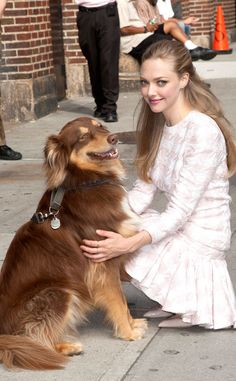 Amanda Seyfried & her pup Finn. Too too cute!