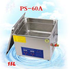 1P Cglobe 110V/220V Bath Cleaner PS-60A 40KHz Ultrasonic Cleaner 15L Stainless Steel Washing Machine