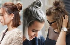 How to Make a Bun with Short Hair: 11 Super Easy Short Hairstyles – bun hairstyles easy Short Hair Top Knot, Messy Bun For Short Hair, Headbands For Short Hair, Short Hairstyles For Thick Hair, Short Hair Styles Easy, Short Pixie Haircuts, Medium Hair Styles, Curly Hair Styles, Short Hair Hacks