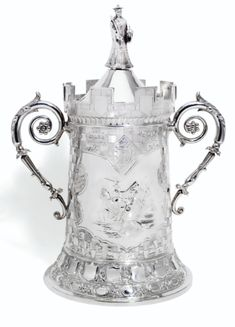 A Victorian Silver Chess Trophy Centerpiece, Martin, Hall, and Co., Sheffield circa 1891.