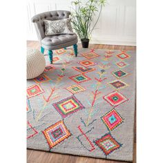 nuLOOM Contemporary Handmade Wool/ Viscose Moroccan Triangle Grey Rug (7'6 x 9'6) | Overstock.com Shopping - The Best Deals on 7x9 - 10x14 Rugs