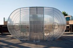 Tube Arc by Bike Arc is a modular, enclosed bike shed/bicycle shelter made out of Bike Arc's signature arched racks. Cycle Shelters, Farmhouse Sheds, Bicycle Rack, Bike Shed, Shed Roof, Bike Storage, Cool Bikes, Garden Sheds, Bike Stuff