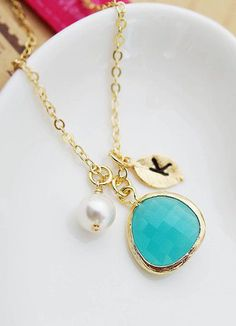 Initial Personalized Necklace Mint Opal