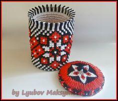 3D origami paper vase (fancy box, box for chocolate) with Ukrainian patt...