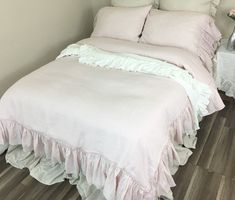 Blush Pink Linen Duvet Cover with Country Mermaid Long Ruffles  This beautiful duvet cover will give the bedroom the country cottage feel you are hoping for. Handmade in blush light pink linen.