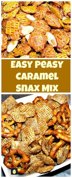 Easy Peasy Caramel Snack Mix. Make a big batch, stores and freezes great too!