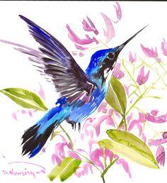 Hummingbird painting 12 x12 inbright color flowers by ORIGINALONLY