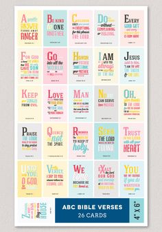 ABC Verses GIRL 4x6 A to Z Bible Verses for Children by Huetopia