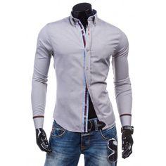 Pánska formálna košeľa s dlhým rukávom sivej farby - fashionday.eu Style Casual, Motorcycle Jacket, Leather Jacket, Revers, Athletic, Jackets, Products, Fashion, Men's T Shirts