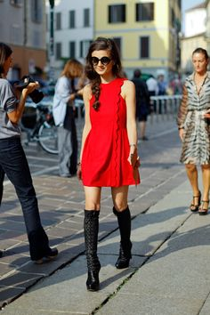 red dress, chic day look
