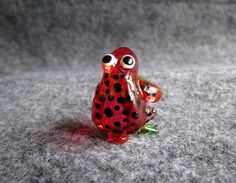 Red FROG Hand Blown Art Glass Animal Figurine Hand Craft Frog