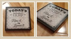 Today's Menu Sign - 6x6 Inches with Black and White Polka Dot Border by seedtosprout on Etsy